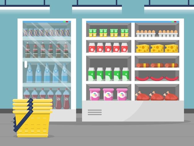 Витрина продуктового магазина. магазин продуктов питания внутри супермаркета оформить векторный фон