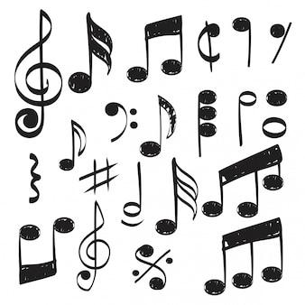 Нота. каракули эскиз музыкальный вектор рисованной картинки изолированные