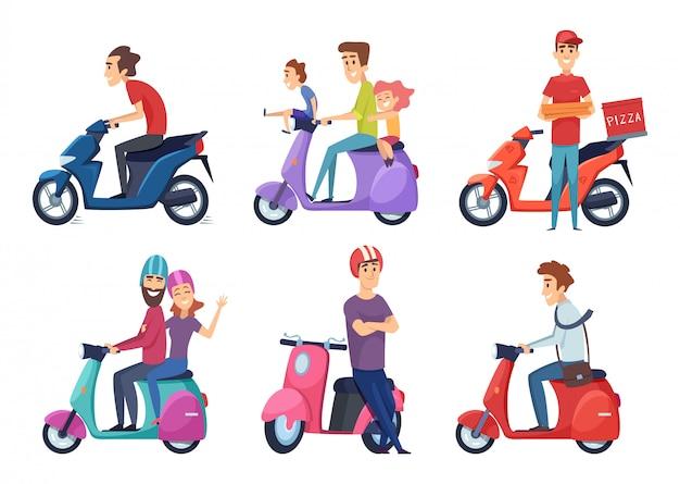 男はバイクに乗る。モペットを運転する配達ピザまたは食品旅行者カップルのための高速自転車スクーター