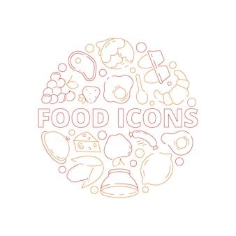 食品アイコンの背景。色付きの円の形のキッチンメニュー新鮮な製品魚鶏肉と野菜果物自然な食事