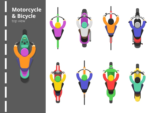 Велосипед верх велосипедный. вид сверху на мотоцикле быстро вождения молодой мужчина водитель векторные плоские фотографии