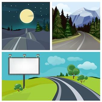 都市への道。高速道路と丘の上のさまざまな種類の都市道路