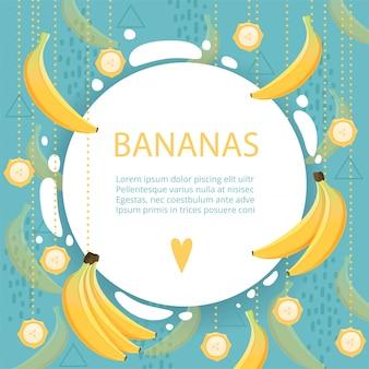 Банановый шаблон с фруктами