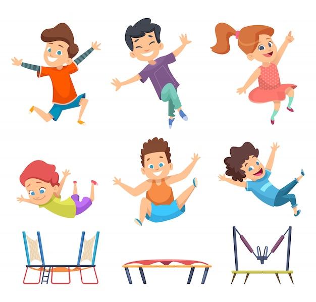 Батут детский. детская площадка активные прыжки игры вектор персонажей в мультяшном стиле
