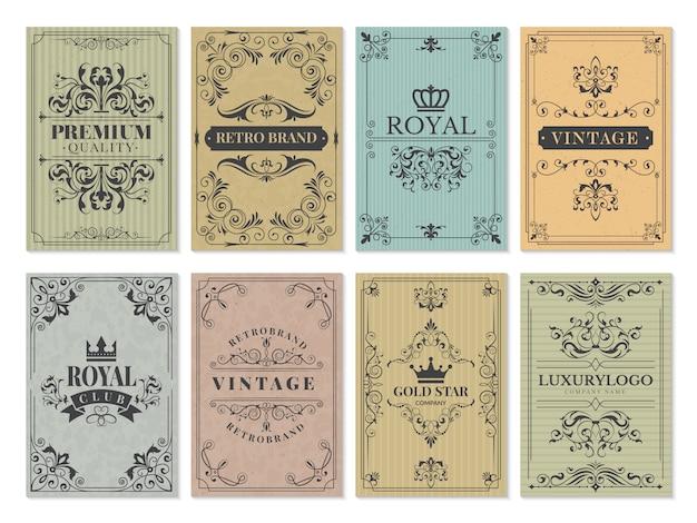 ビンテージカード。フレームデザイン西部背景ベクトルテンプレートの素朴なビクトリア朝のレトロな古いパターン装飾