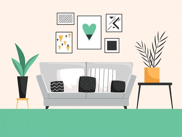 ソファ付きのインテリア。快適な家具付きのリビングルームの詳細なベクトル構成