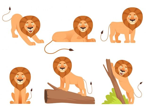 Лев мультфильм дикие джунгли животных гордость счастливых сафари векторных символов, изолированных