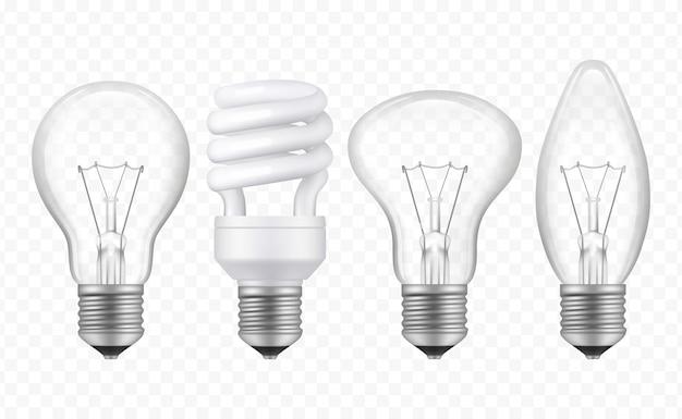 Лампочка освещения. реалистичные стеклянные прозрачные лампы различных стилей бизнес креативные идеи символы вектор коллекции