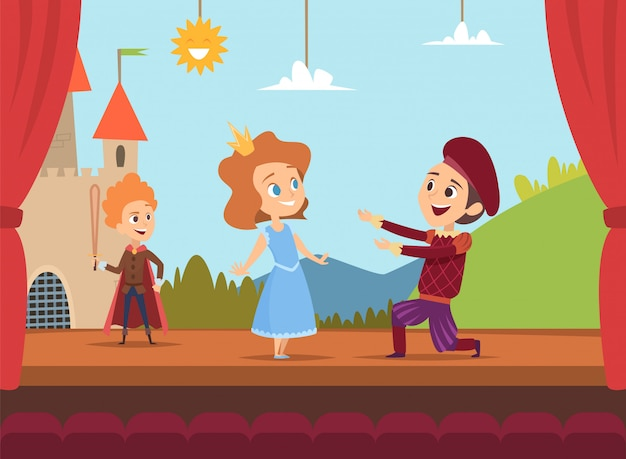 学校のステージで子供たち。シーンの劇的な風景で大きなパフォーマンスを作る子供俳優ベクトルイラスト