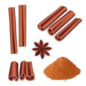 Коричная специя. травы десерт ароматические продукты питания палочка корицы векторная иллюстрация