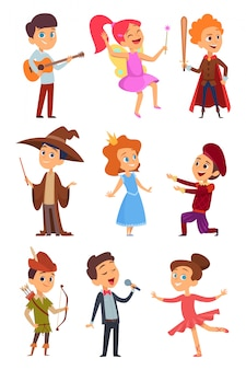 Детские актеры. театрализованное представление забавных детей юношей и девушек в костюмах стоящих на школьной сцене персонажей мультфильма