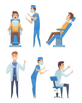 Стоматологи персонажи. стоматология медицина рот диагностика здравоохранение карикатура иллюстрации