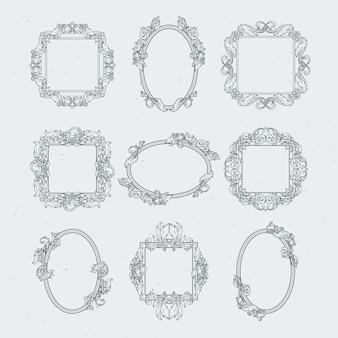 Античные викторианские рамы для картин. векторный набор в стиле барокко