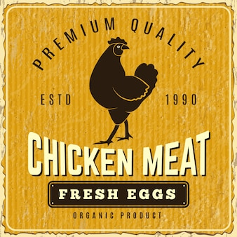 Куриный плакат. свежая ферма меню логотип ресторана шаблон плаката полло