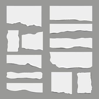 Разорванная белая бумага. разорванная легкая бумага для записей лома для заметок, реалистичные картинки для баннеров
