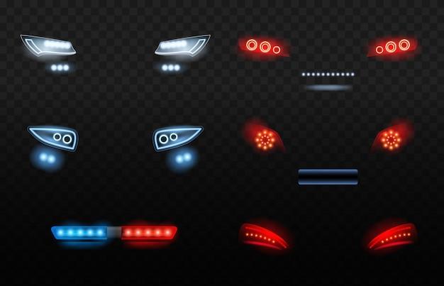 自動車はライトを導きました。夜の警察車の現実的なライトの赤と白の車のヘッドライト