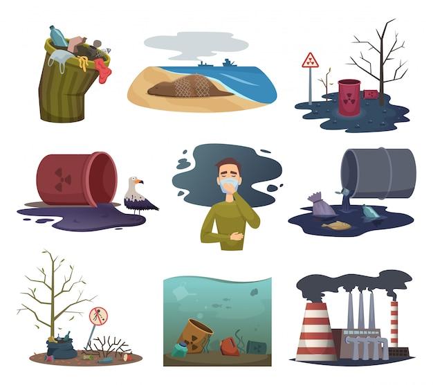 Загрязнение природы. сад погода мусор рециркулировать загрязнение окружающей среды векторная коллекция изображений