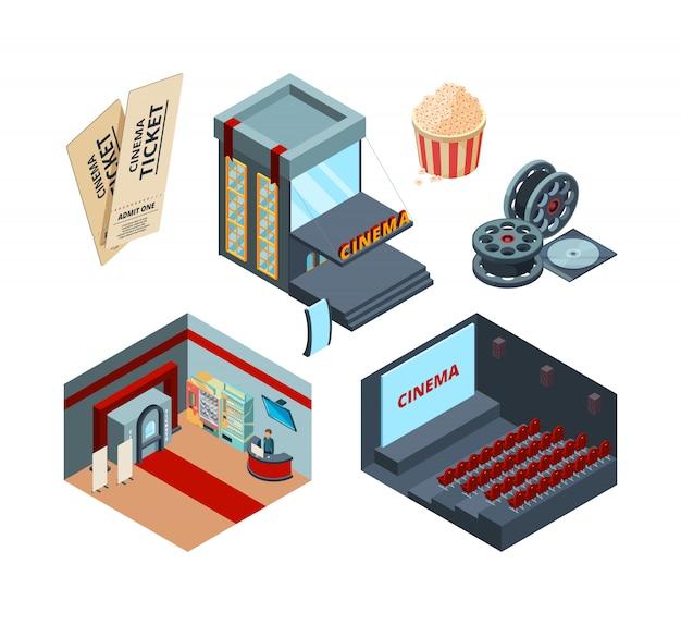Кинотеатр изометрический. внутри интерьера кинотеатра развлекательные иллюстрации билет в кино красные шторы вектор