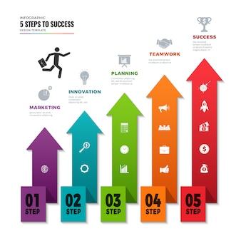 成功のインフォグラフィック。情報ポイント、ビジネスインフォグラフィック要素ベクトルテンプレートで高速道路グラフ道路