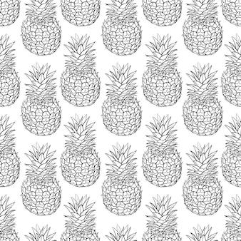 パイナップルのシームレスなパターンベクトル