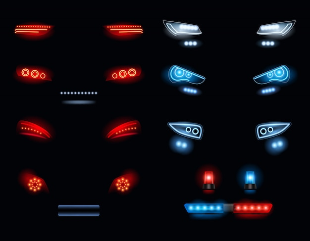 車のヘッドライト。赤と白の自動車ライトの暗い環境ベクトル現実的なコレクション