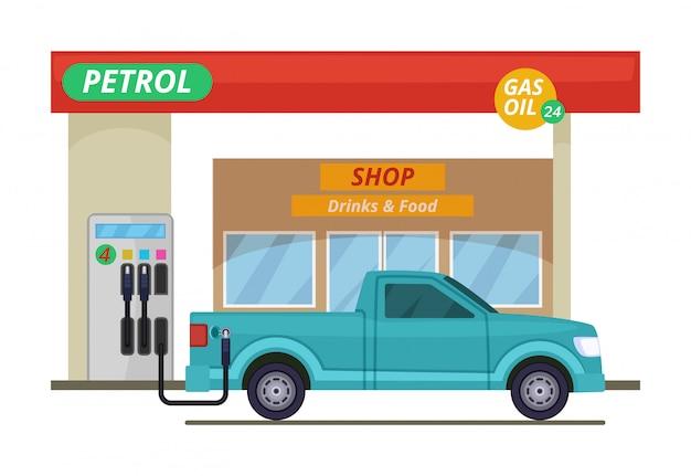 ガソリンスタンドまたはディーゼルステーション。漫画のスタイルのベクトルイラスト