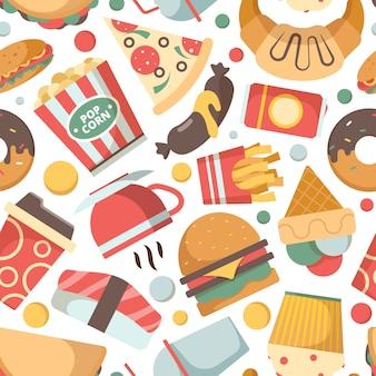 ファーストフードのパターン。レストランメニュー写真ピザハンバーガーアイスクリームサンドイッチ冷たい飲み物スナックベクトルのシームレスな背景