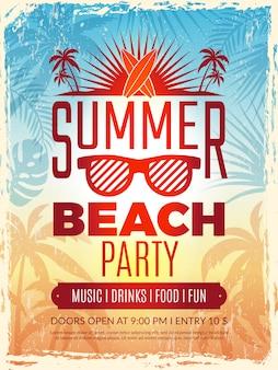 Летний ретро постер. отпуск тропический пляж летняя вечеринка приглашение ретро плакат вектор шаблон