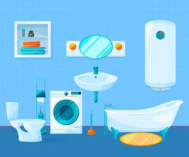 バスルームのモダンで清潔なインテリア。漫画のスタイルのベクトル写真。