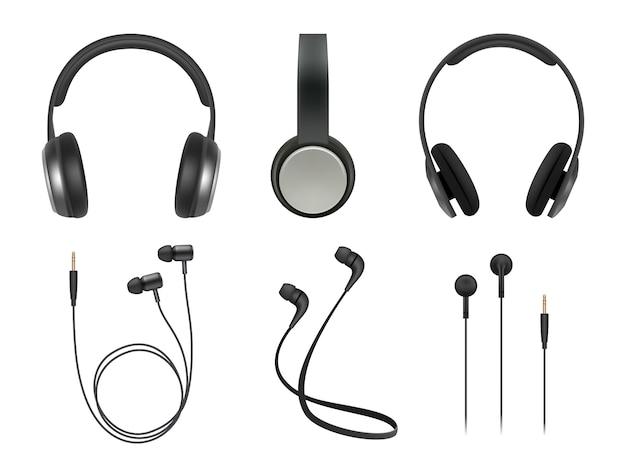 音楽イヤホン。品質の電子アイテムステレオヘッドフォン技術ベクトル現実的な写真