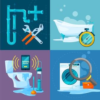 配管工事の概念的な写真セット。浴室および台所の管および他の特定の付属品。