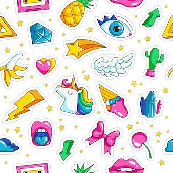 ファッションユニコーンバッジ。レトロなオブジェクトレインボースターユニコーン目雲ダイヤモンドシームレスな背景を持つコミックスタイルのパターン