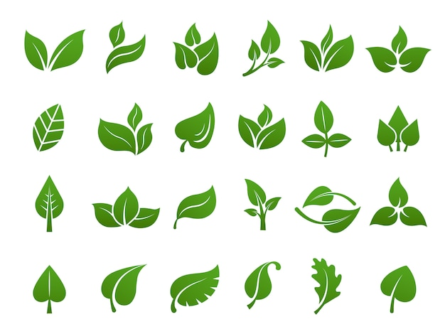 緑の葉のロゴ。植物自然エコガーデン様式化されたアイコンベクトル植物コレクション