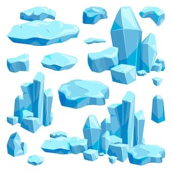 Сломанные кусочки льда. гейм-дизайн векторные иллюстрации в мультяшном стиле