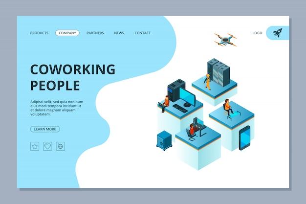Коворкинг посадки. шаблон дизайна веб-страницы деловые люди тимбилдинг менеджеры встреча и мозговой штурм изометрии