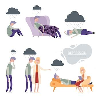 うつ病。一人で不幸な欲求不満な性格、孤独な落ち込んだ睡眠、心理学者療法