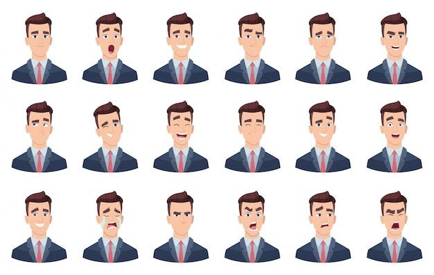 男の感情。顔文字の異なる顔の悲しみが嫌いな笑顔の頭の肖像画のキャラクター