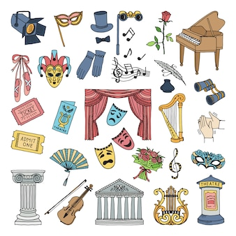 劇場の色のシンボル。バレエとオペラのベクトルアイコンを設定する分離