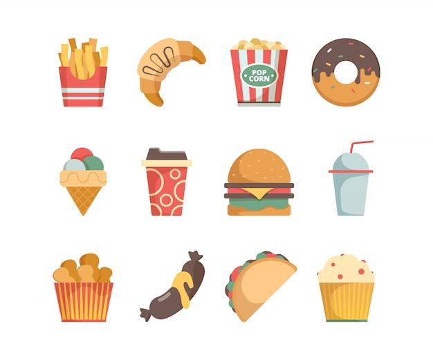 Иконки быстрого питания. гамбургер пицца колбаски закуски бутерброд мороженое еда меню плоские картинки
