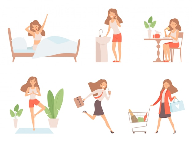女性の日常。ビジネスレディの時間管理生活毎日のプロセスワーキングマザーのアニメ