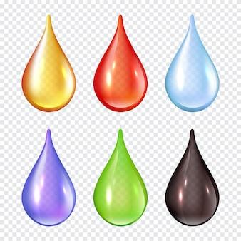 Цветные капли. брызги краски жидкости реалистичные иллюстрации капли воды