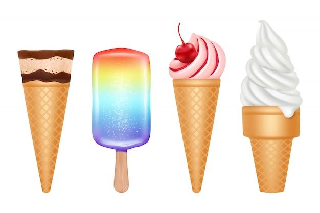 Мороженое. замороженный десерт в жарком летнем ванильно-клубничном и шоколадном мороженом с начинкой реалистичная коллекция