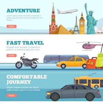 Туристические баннеры. глобус приключения транспорт путешественники достопримечательности лондон париж нью йорк россия комфортабельные автомобили самолет туристы