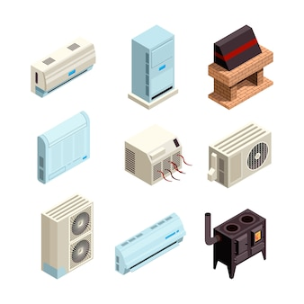 Кондиционер. системы отопления и охлаждения различных типов с компрессорами и напорными трубами, картинки изометрические