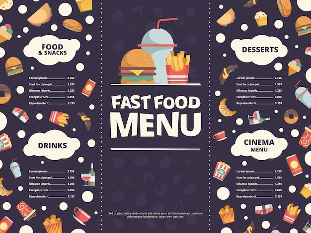 ファーストフードのメニュー。ファーストフードフラット写真ハンバーガー冷たい飲み物ドーナツピザとレストランメニューのデザインテンプレート