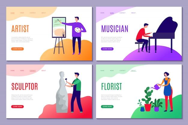 Творческая профессия посадка. веб-страницы бизнес-сайтов с творческими людьми, художниками-скульпторами, рисуют актеров, стилизованных персонажей