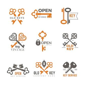 Ключевой логотип. недвижимость навесные замки эмблемы и значки элегантные винтажные витиеватые ключи картинки