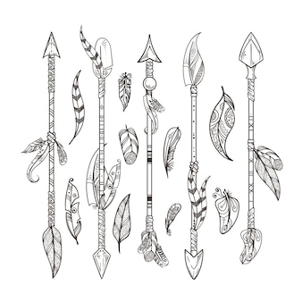 装飾的な矢印と羽のセット