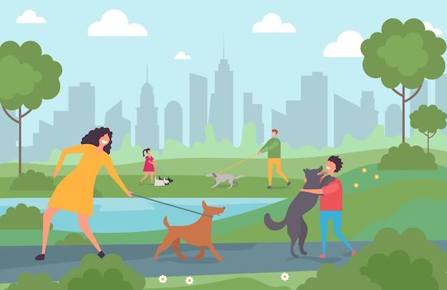 都市公園で犬を連れて歩いて幸せな人。漫画のキャラクターの大人とペットのイラストが子供たち