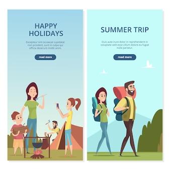 Летний кемпинг баннеры. семейная поездка и путешествия иллюстрация
